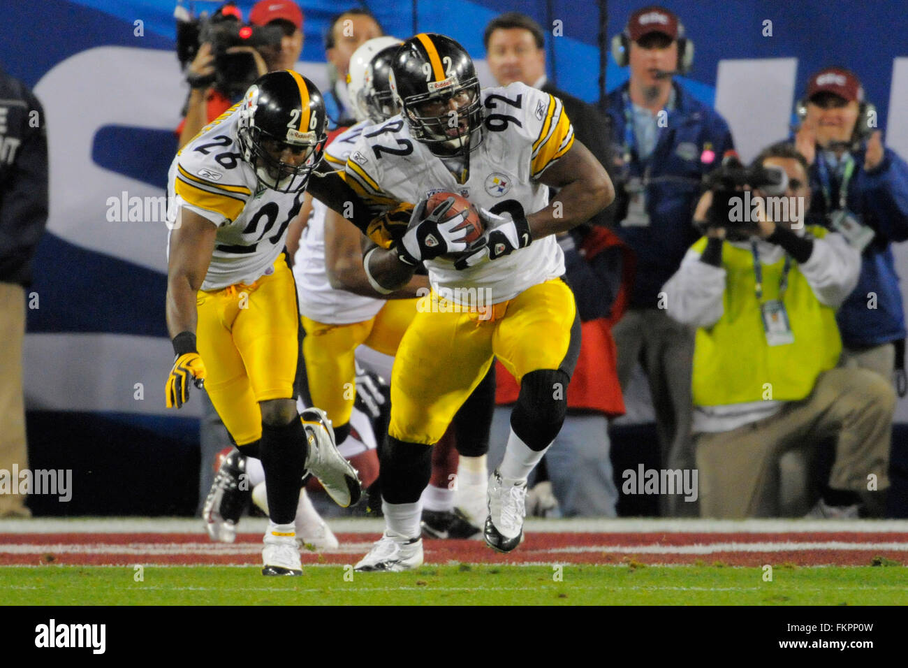 94fb78ba8cf Pittsburgh Steelers linebacker James Harrison (92) returns an interception  for a record 100 yards during the Steelers 27-23 win over the Arizona  Cardinals ...