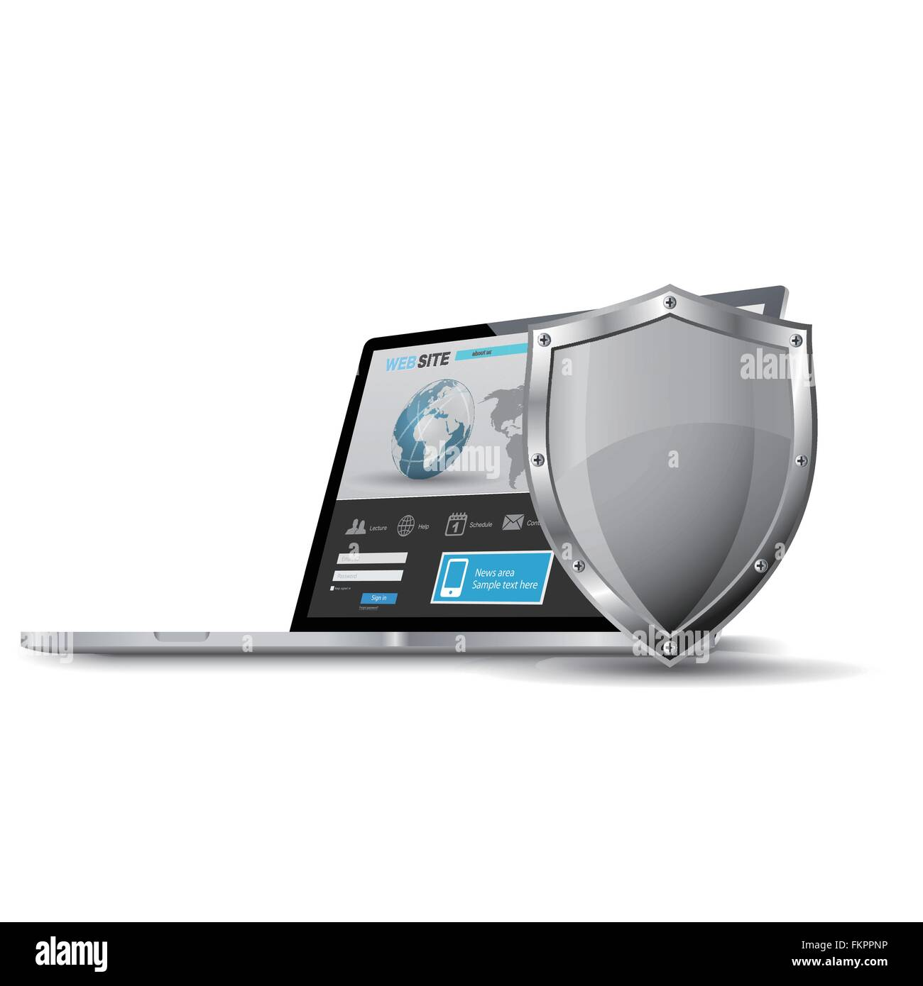 Laptop with metallic shield, internet security concept Stock Vector