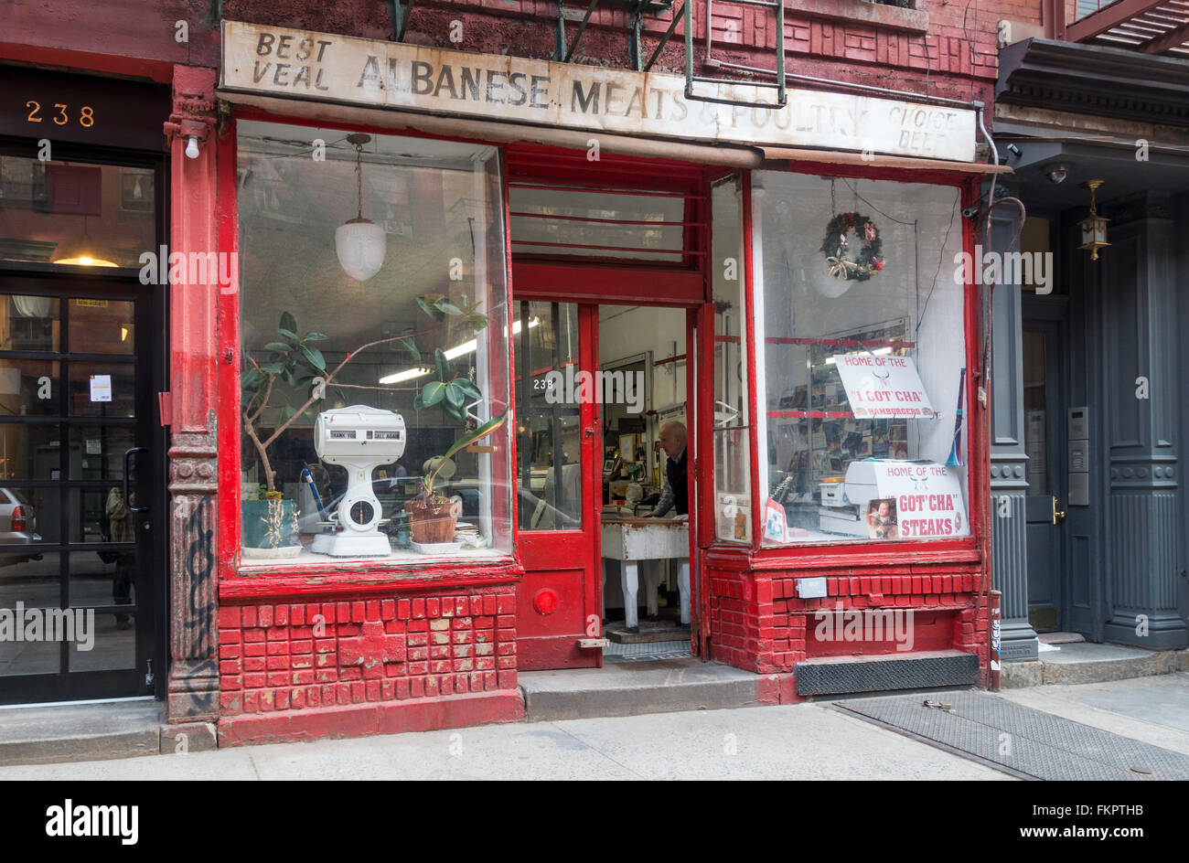 Albanese Meat & Poultry, an old butcher shop in Little Italy in New York City - Stock Image