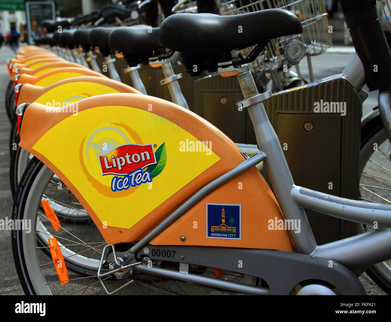 Brisbane City Council operated bicycles in the city, for hire to aid traffic congestion - Stock Image