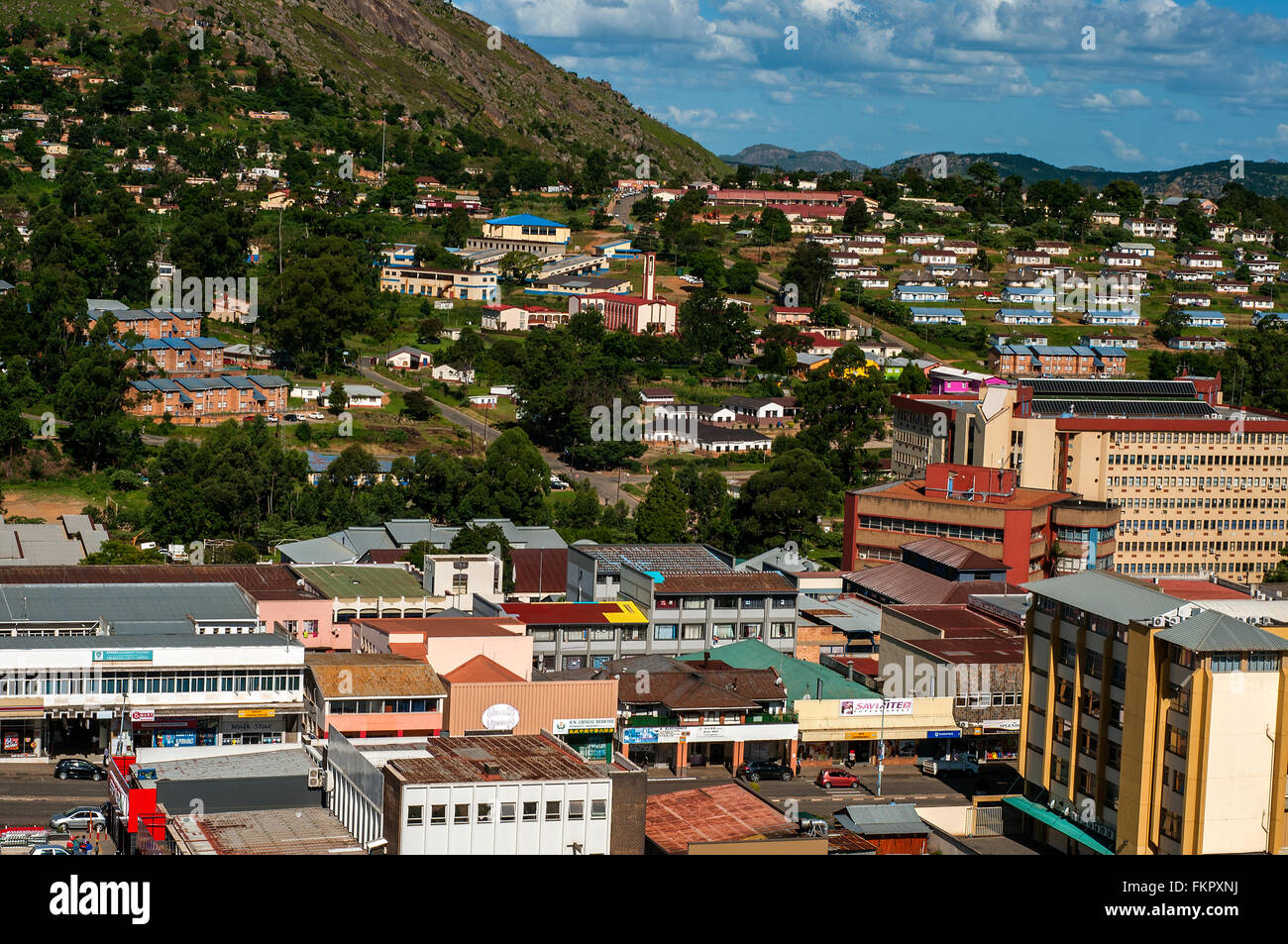 Aerial view of CBD looking east, CBD, Mbabane, Swaziland - Stock Image