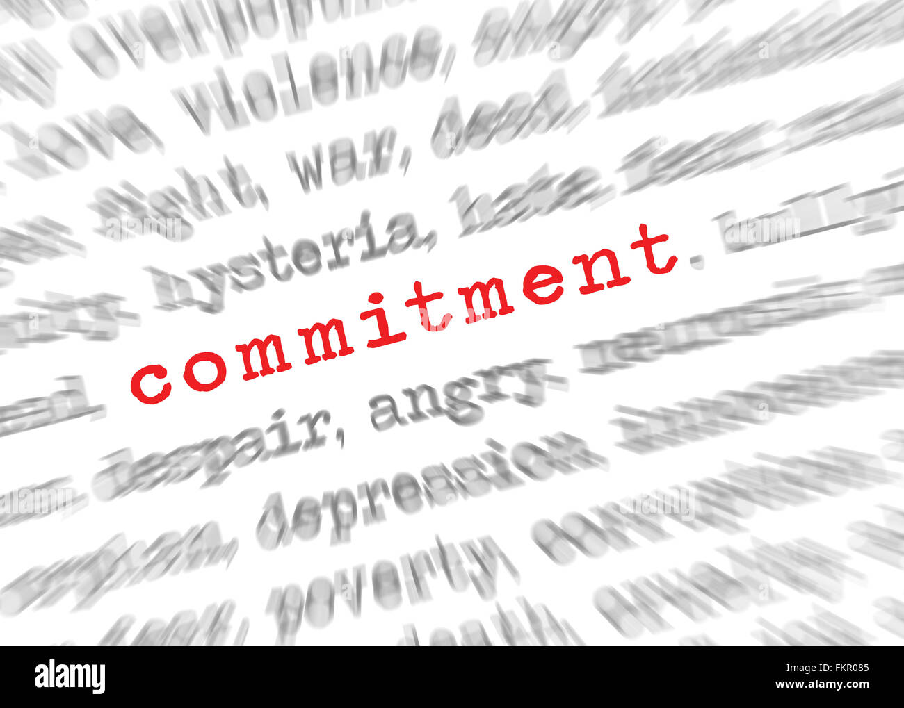 Blured text zoom effect with focus on commitment - Stock Image