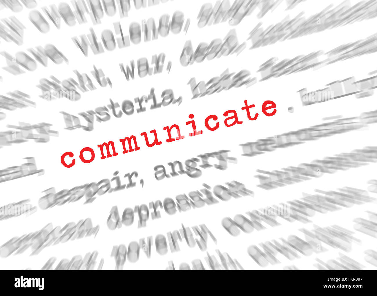 Blured text zoom effect with focus on communicate - Stock Image
