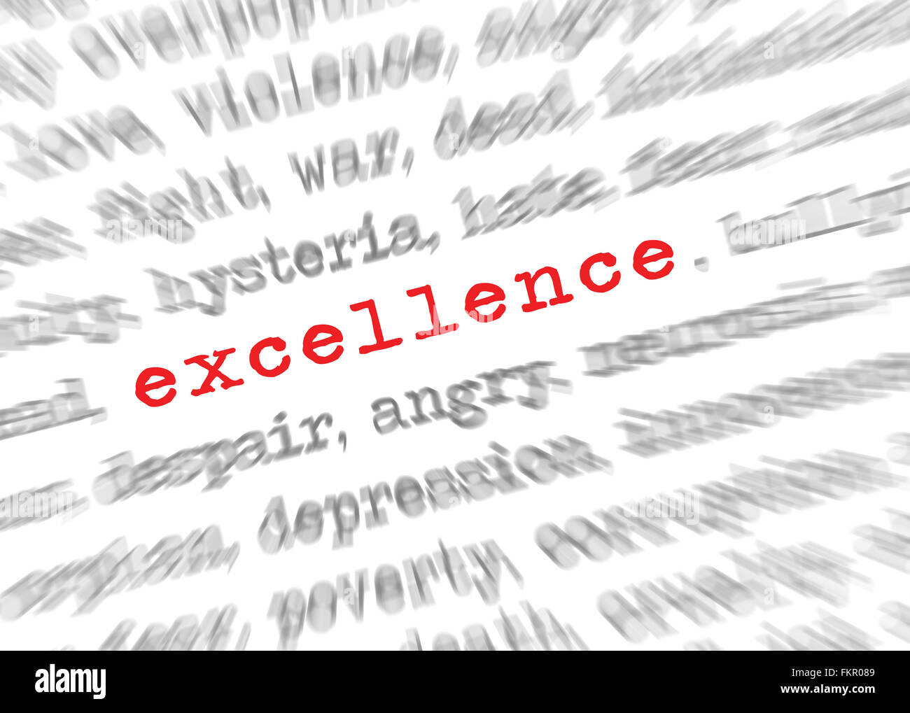 Blured text zoom effect with focus on excellence - Stock Image