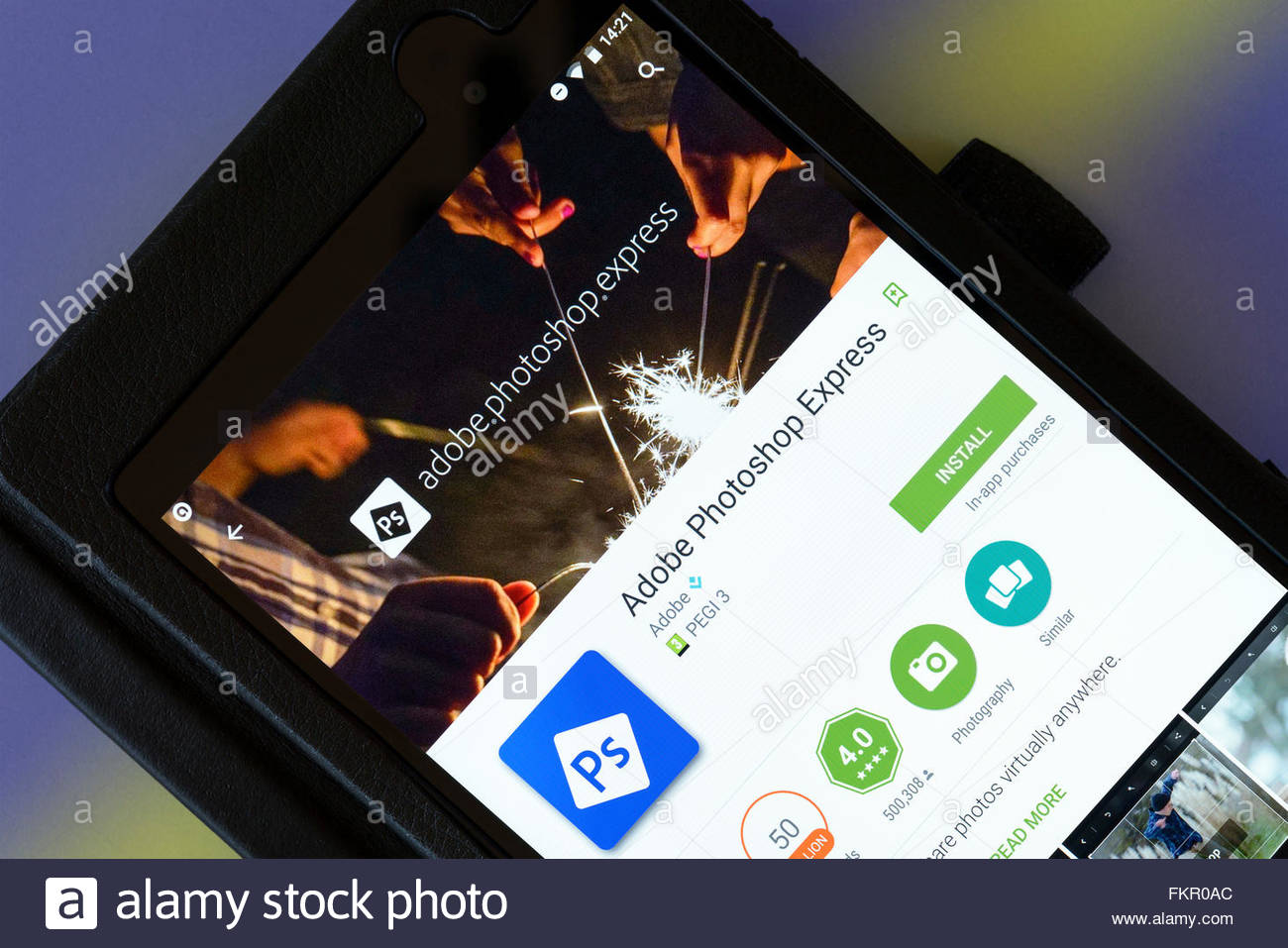 Adobe Photoshop Express app on an android tablet PC, Dorset, England, UK - Stock Image