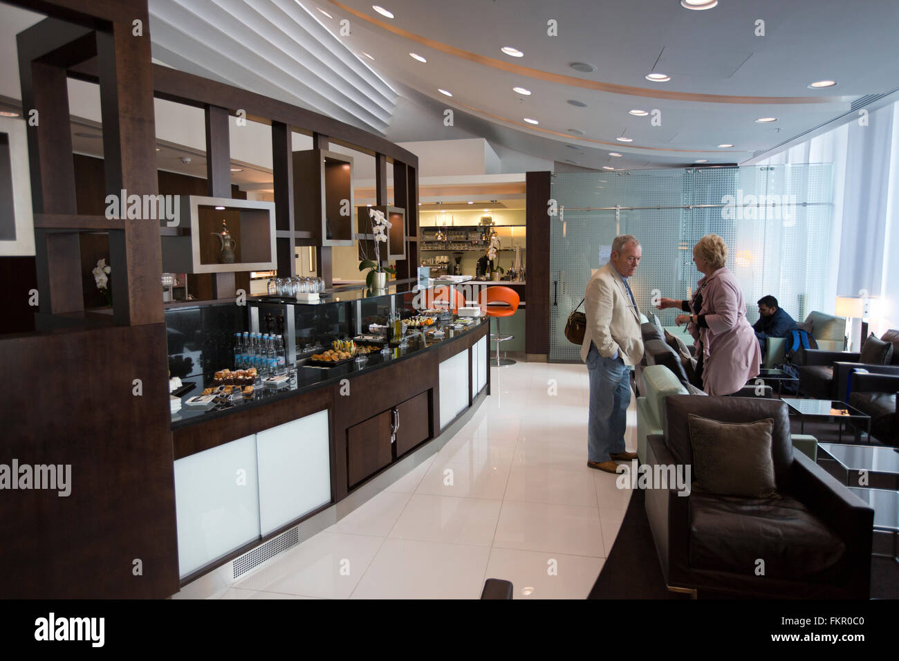 UK, England, Manchester Airport, Etihad Airline Business Class Lounge - Stock Image