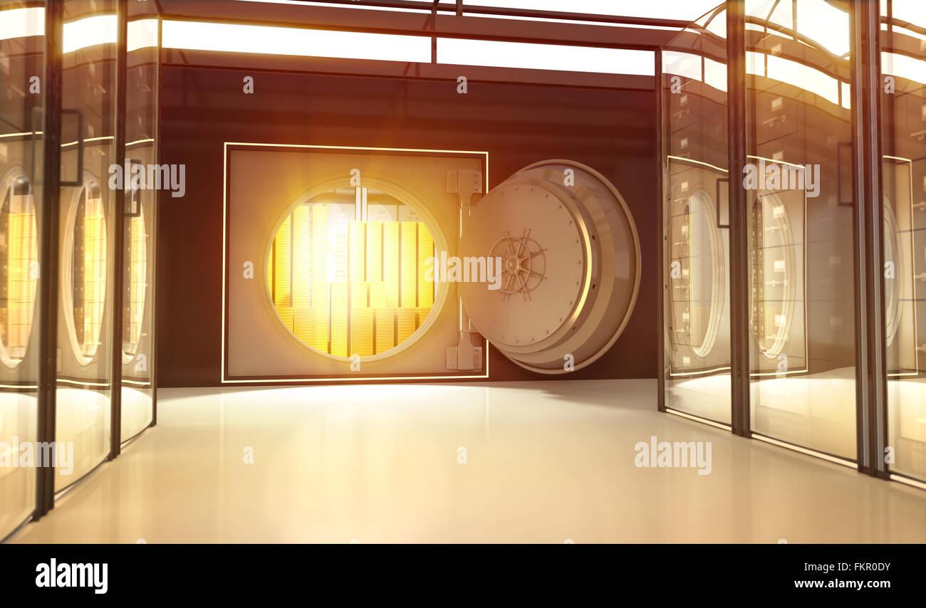 Opening door of safe in the Bank - Stock Image