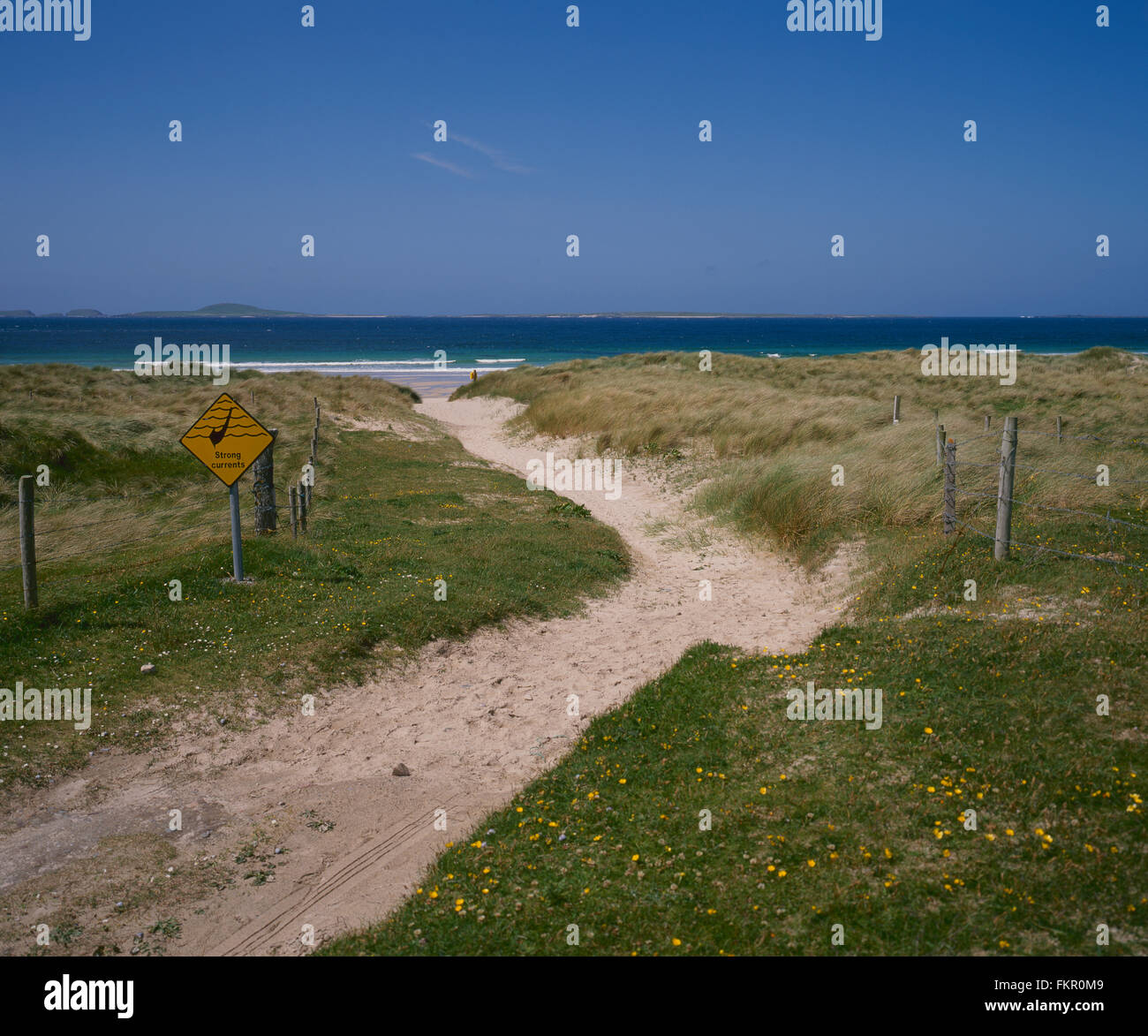 sandy path to beach with sign warning of strong currents on Belmullet, Co Mayo, West Coast of Ireland, Ireland - Stock Image
