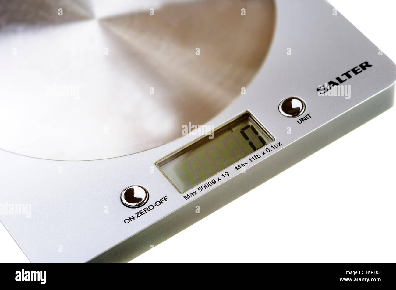 Close up of digital kitchen scales. - Stock Image