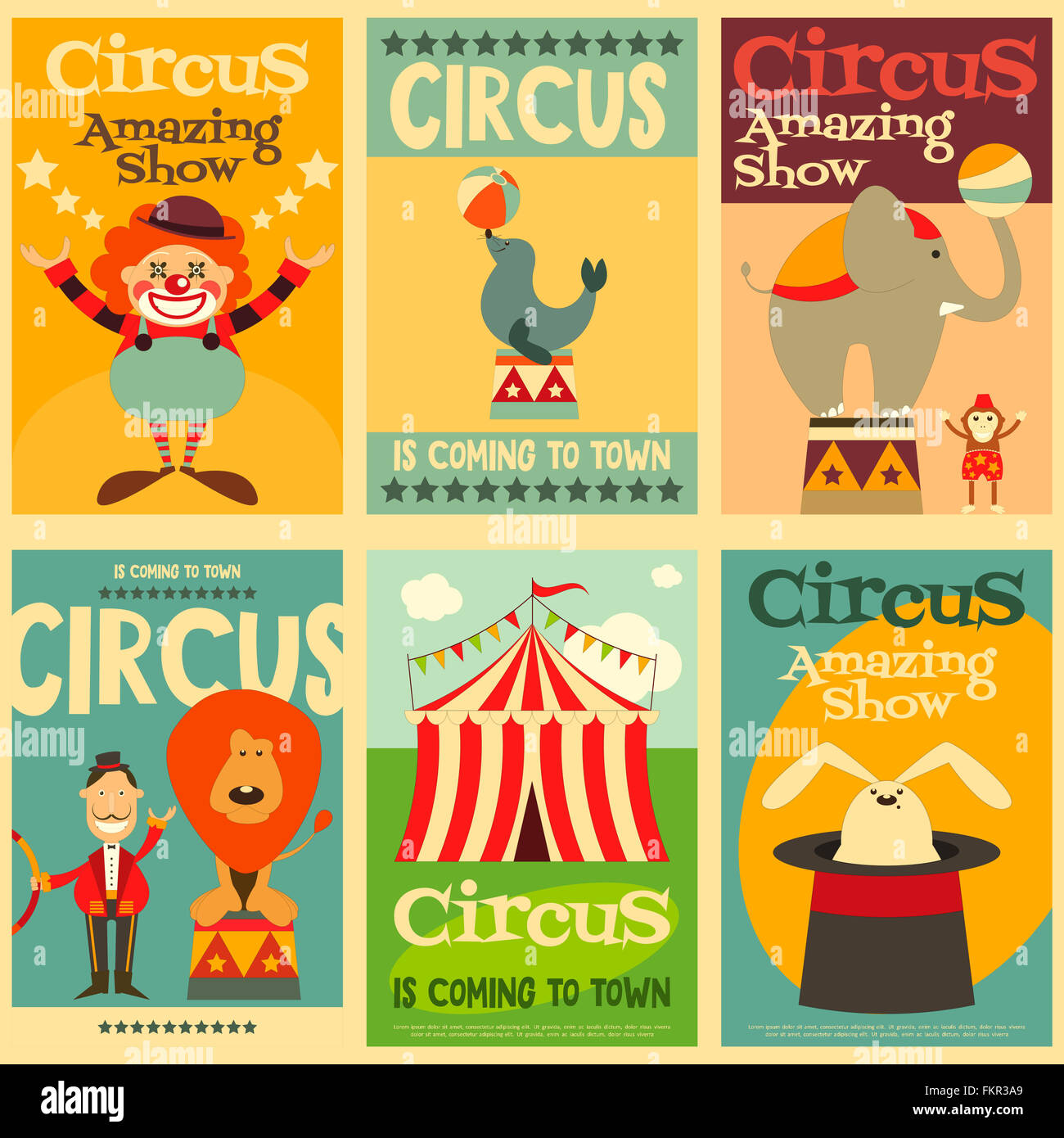 Circus Entertainment Posters Retro Set. Cartoon Style. Circus Animals and Characters. - Stock Image