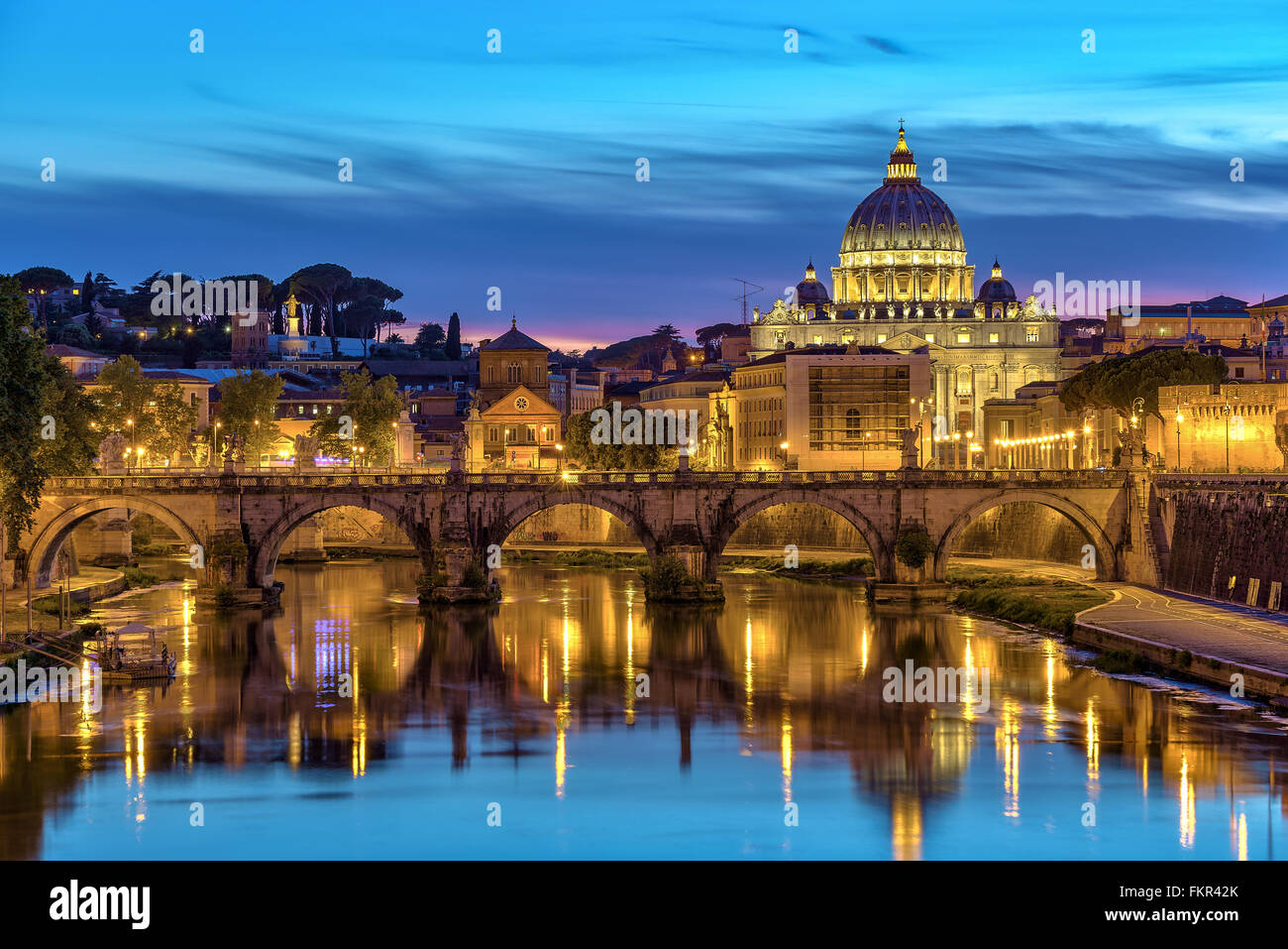 Saint Peter Basilica when sunset, Rome, Italy - Stock Image