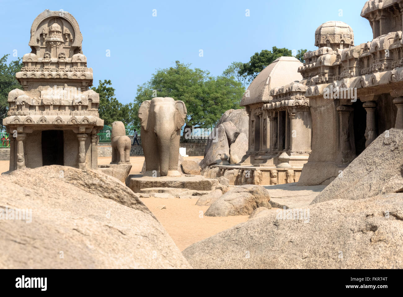 Pancha Rathas, Mahabalipuram, Kanchipuram, Tamil Nadu, India Stock Photo