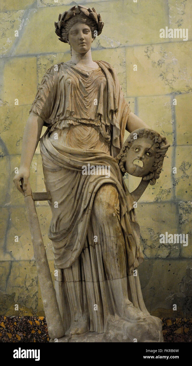 Statue of Melpomene. Muse of Tragedy. Roman, after Greek model of 2nd century BC. The State Hermitage Museum. Saint - Stock Image
