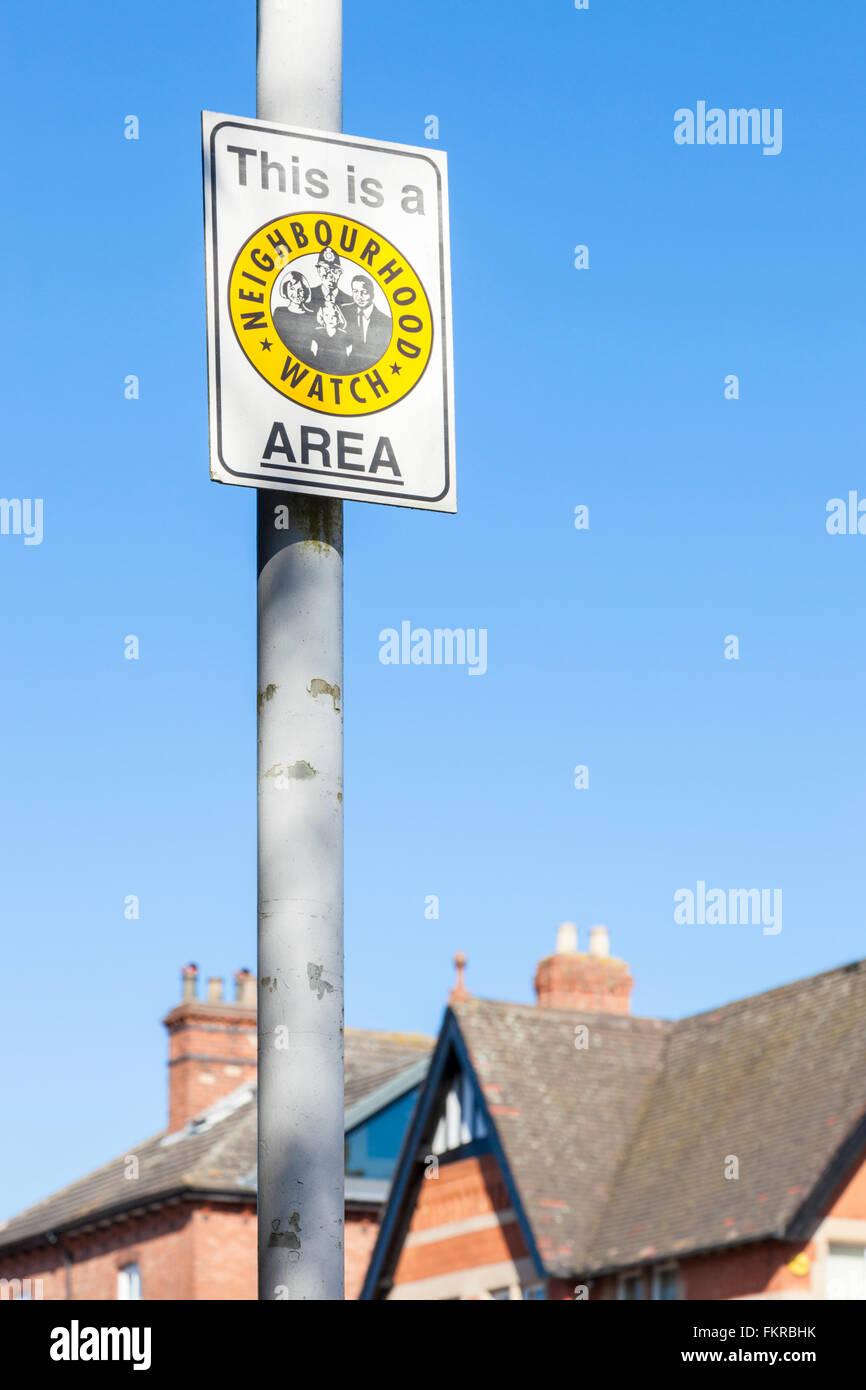 Neighbourhood Watch Area sign, Nottinghamshire, England, UK - Stock Image