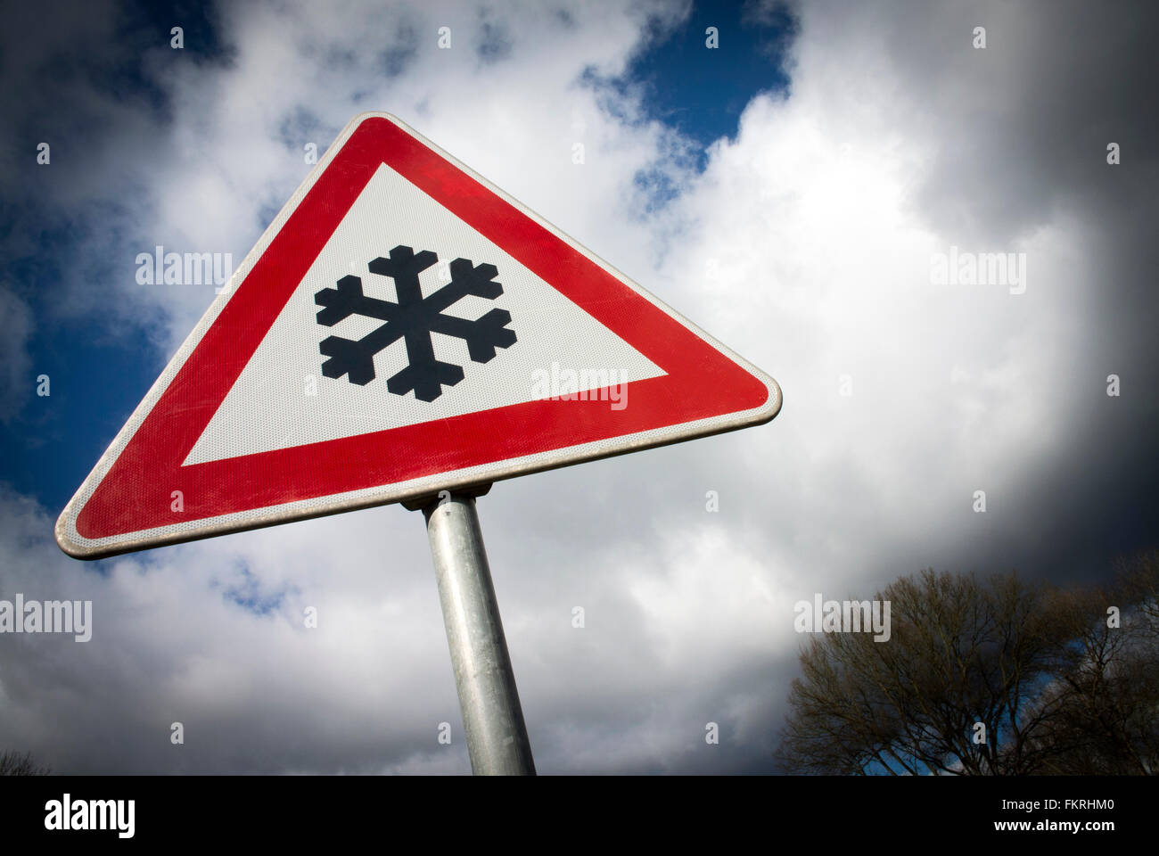 Warning of frost on the road. - Stock Image