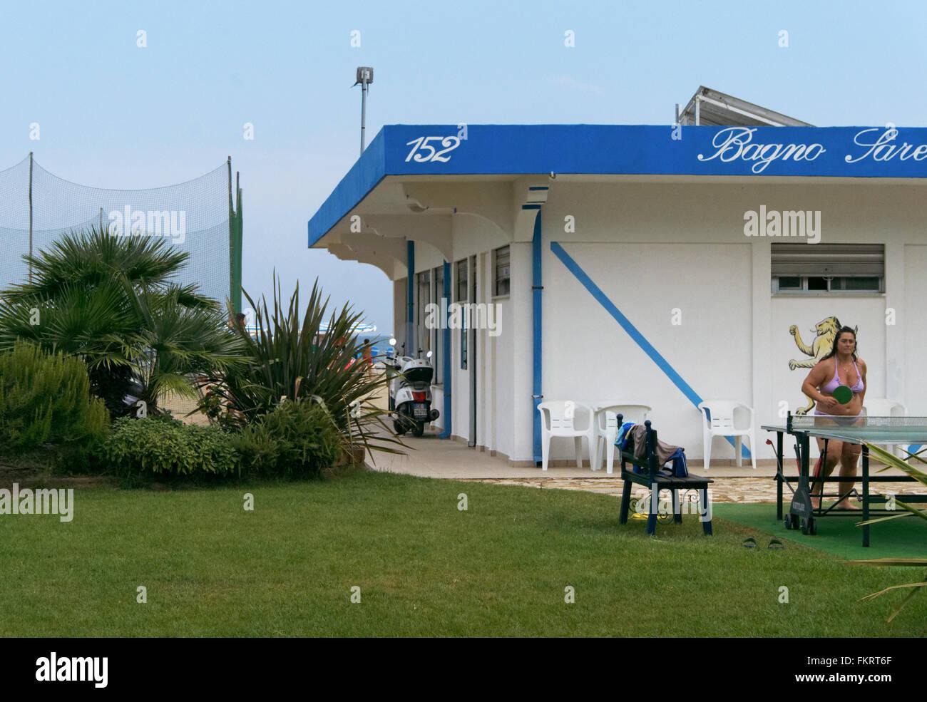 a private beach in Cervia, Adriatic sea coast, Emilia Romagna, Italy - Stock Image