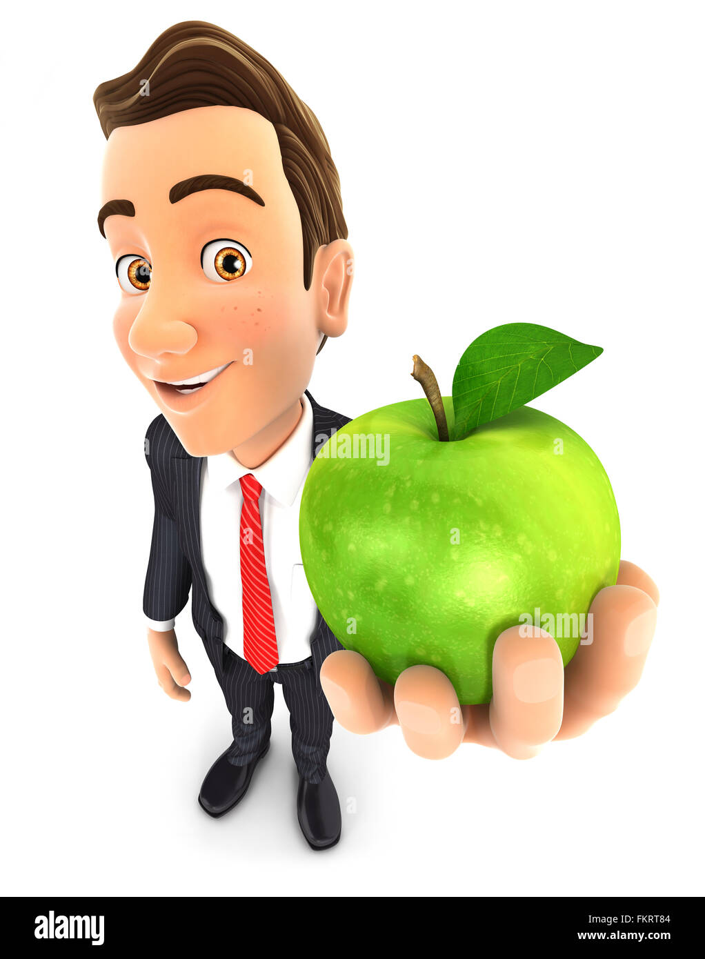 3d businessman holding green apple, isolated white background Stock Photo