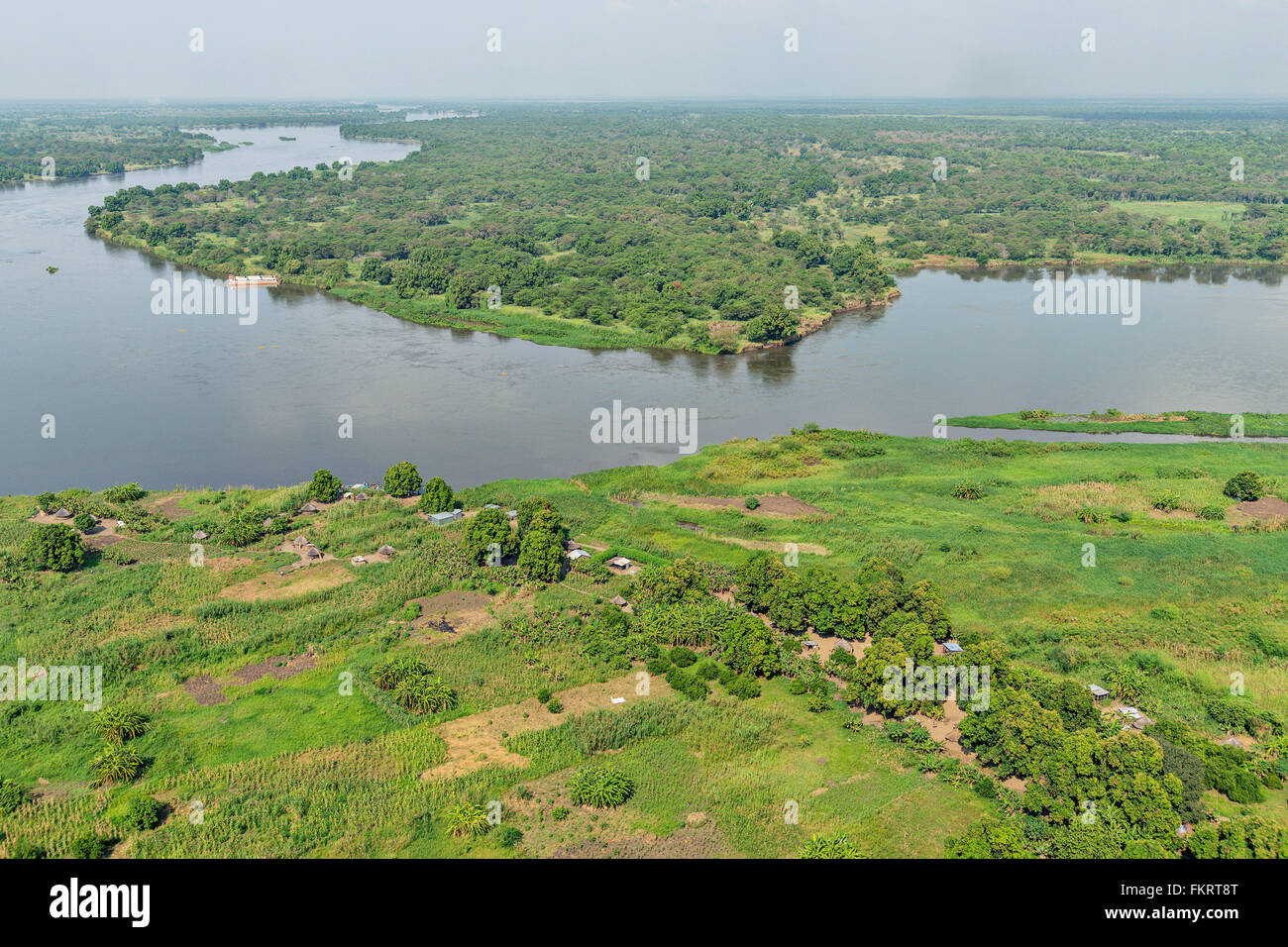 Aerial view of Nile river near Juba, the capital of South Sudan. - Stock Image