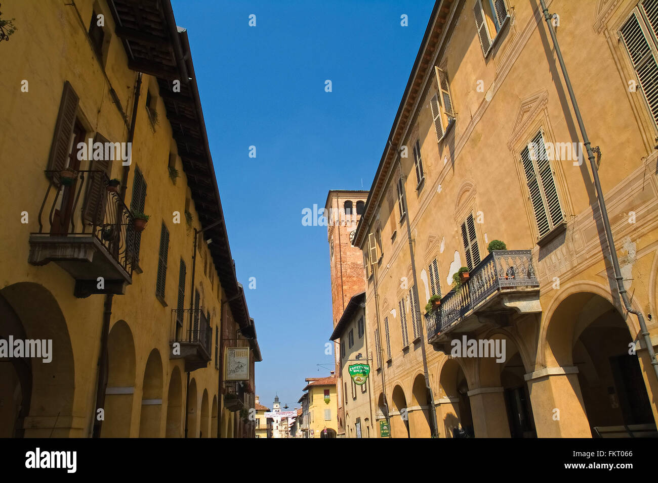 Piedmont Cherasco Via Cavour and Civic Tower - Stock Image