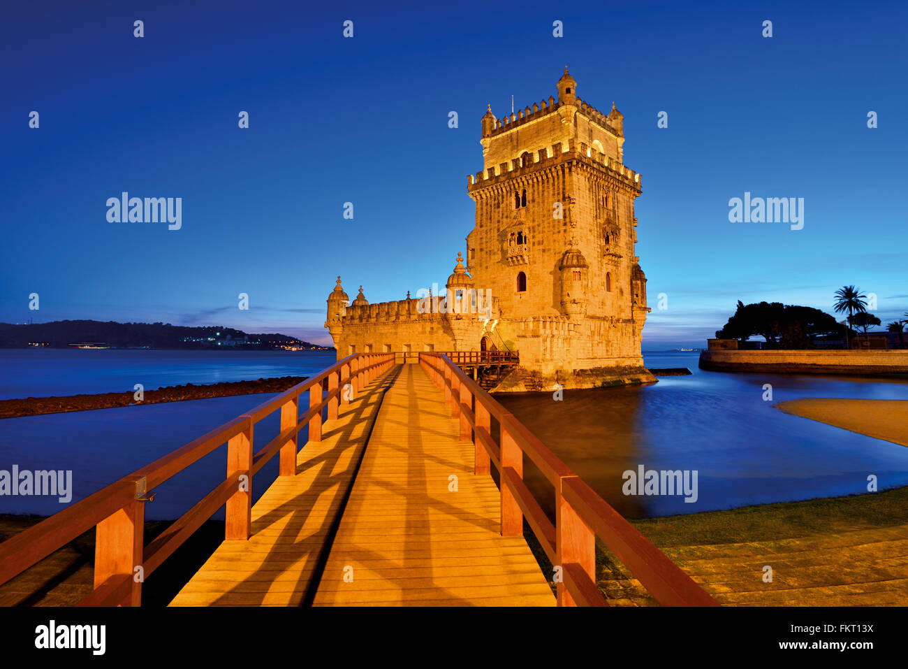 Portugal, Lisbon: Monumental Tower of Belém by night - Stock Image