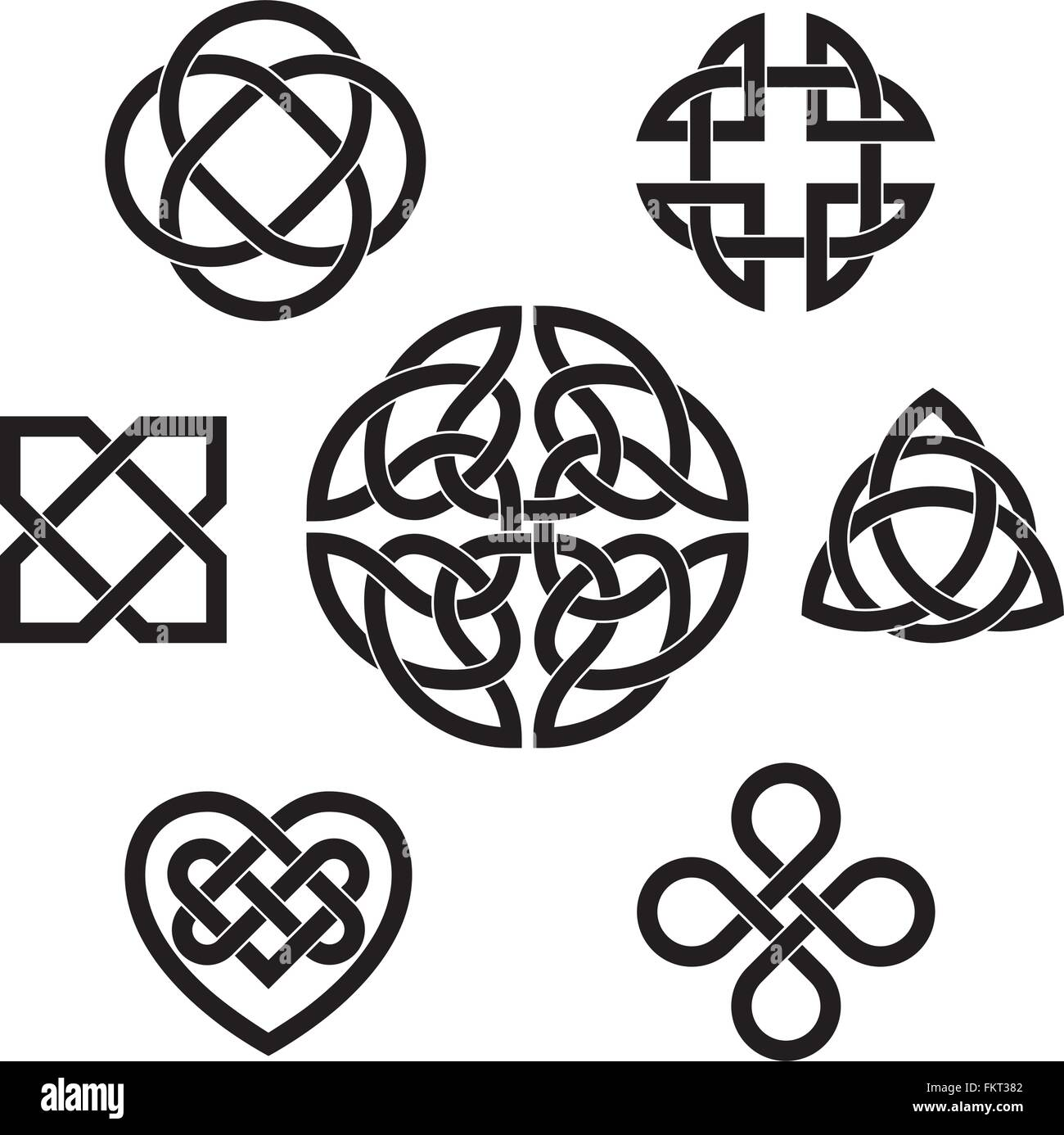 Set of seven traditional celtic infinity knot vector elements - Stock Vector