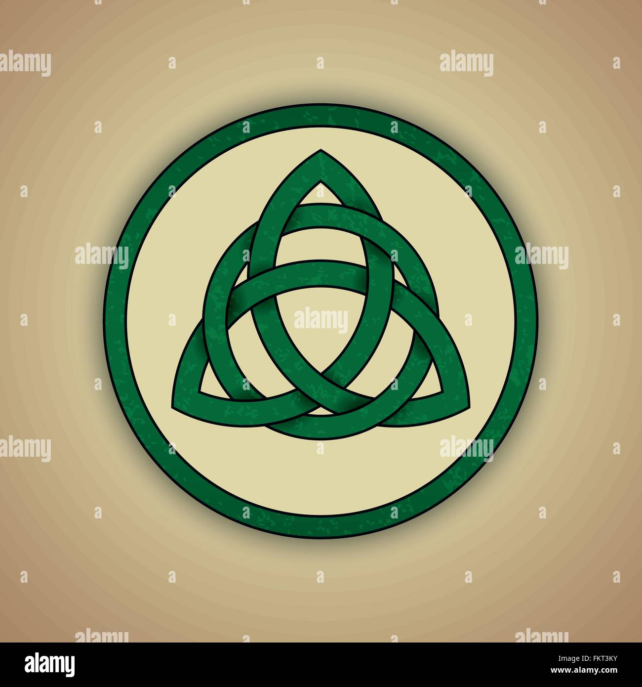 Green celtic trinity knot with slight grunge texture - Stock Vector