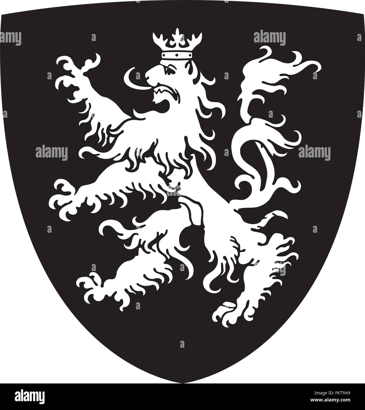 Coat of arms with lion on shield - Stock Vector