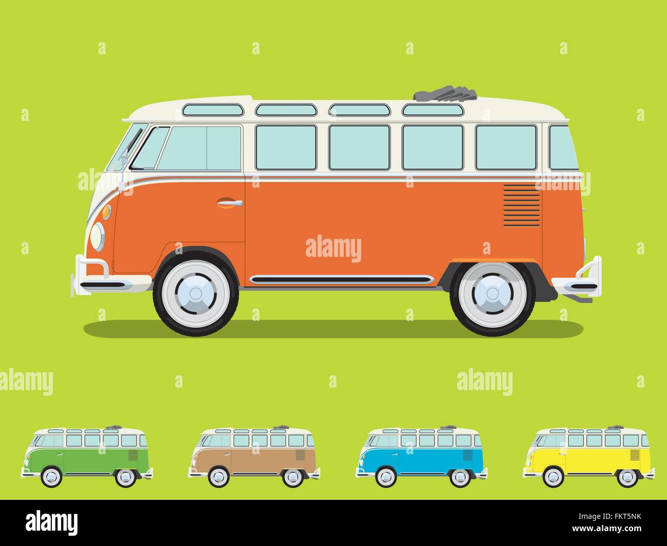 Vintage Volkswagen Camper Van With Open Roof Detailed Side View Four More Slightly Simplified Smaller Color Variations