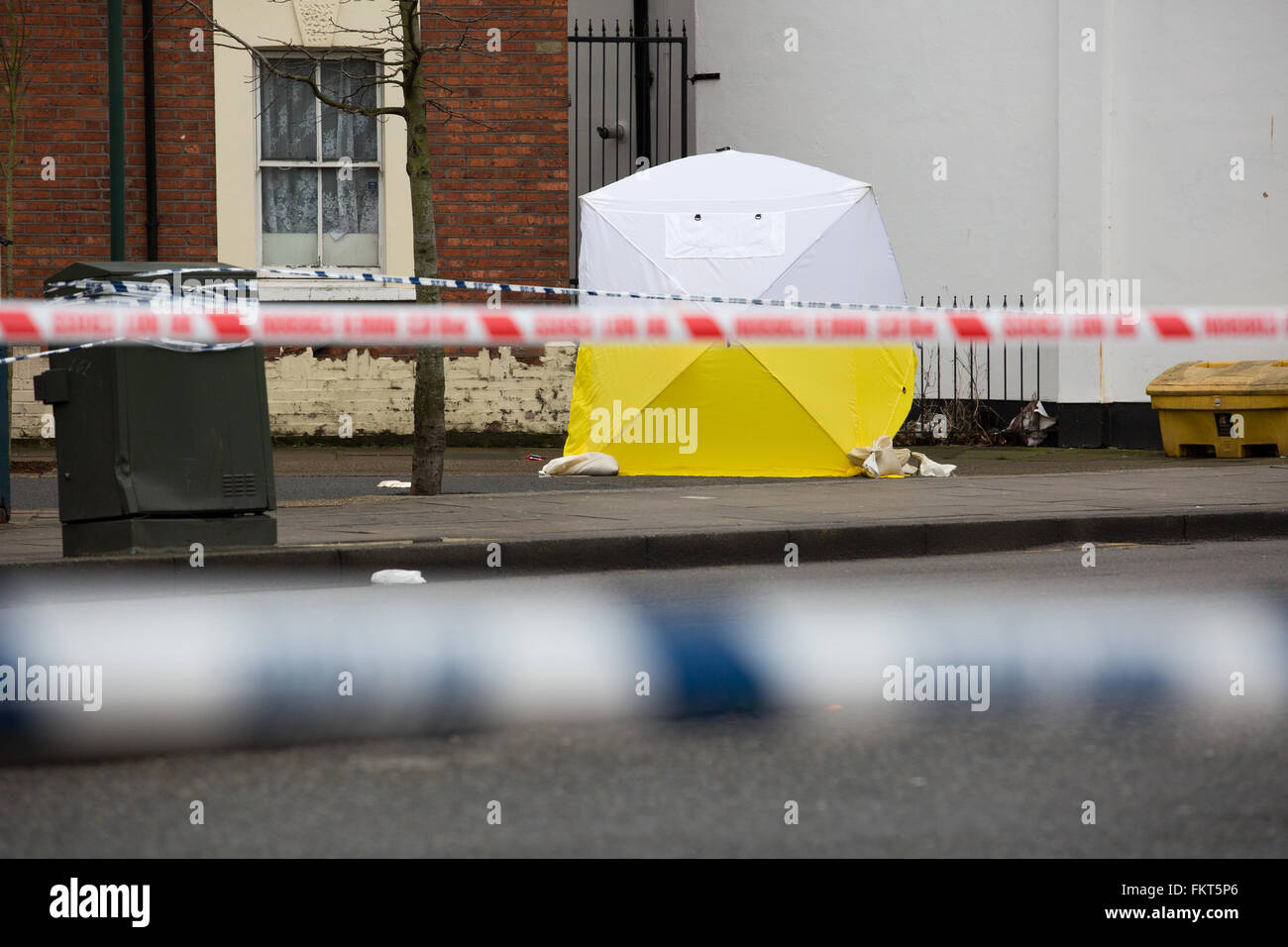 Forensic tent erected during an investigation into an murder - Stock Image