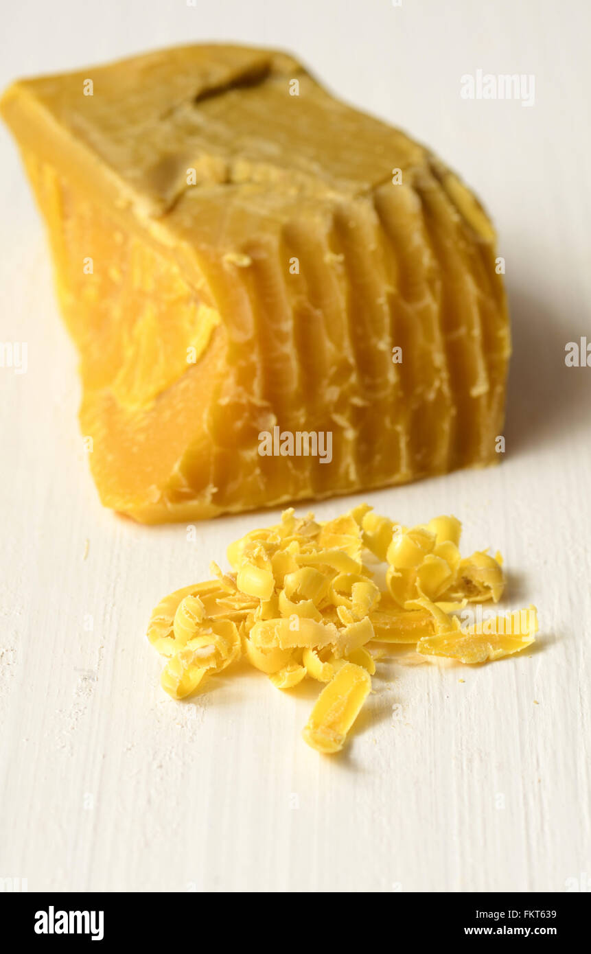 Beeswax, natural wax produced by honey bees - Stock Image