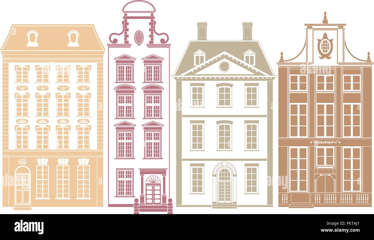 Row of four town houses in 19th century styles - Stock Vector