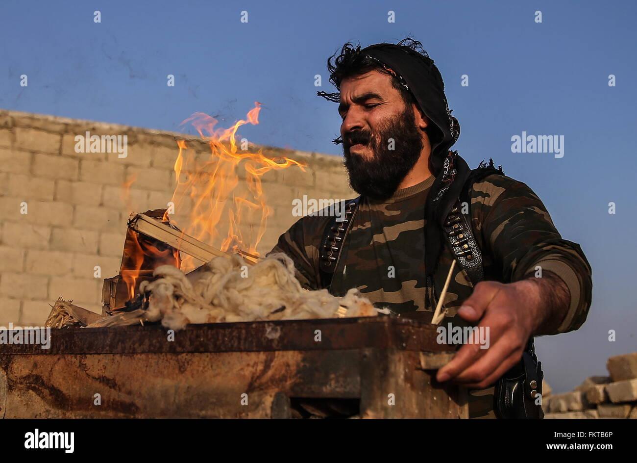 SYRIA. MARCH 10, 2016. Abu Juma, a commander of a Jaysh al-Thuwar unit, near the town of Azaz. Jaysh al-Thuwar, Stock Photo