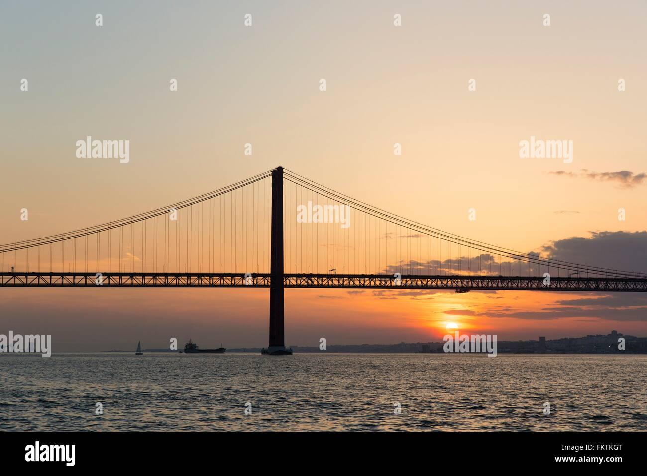 25 de Abril Bridge, Lisbon, Portugal Stock Photo