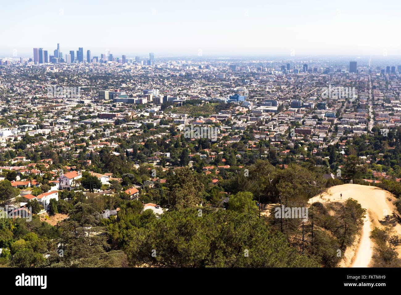 Elevated view of urban sprawl, Los Angeles, California, USA - Stock Image