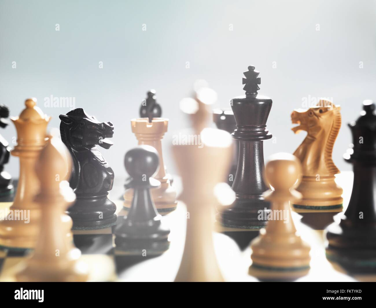 Selective focus close up of chess game and chess pieces Stock Photo