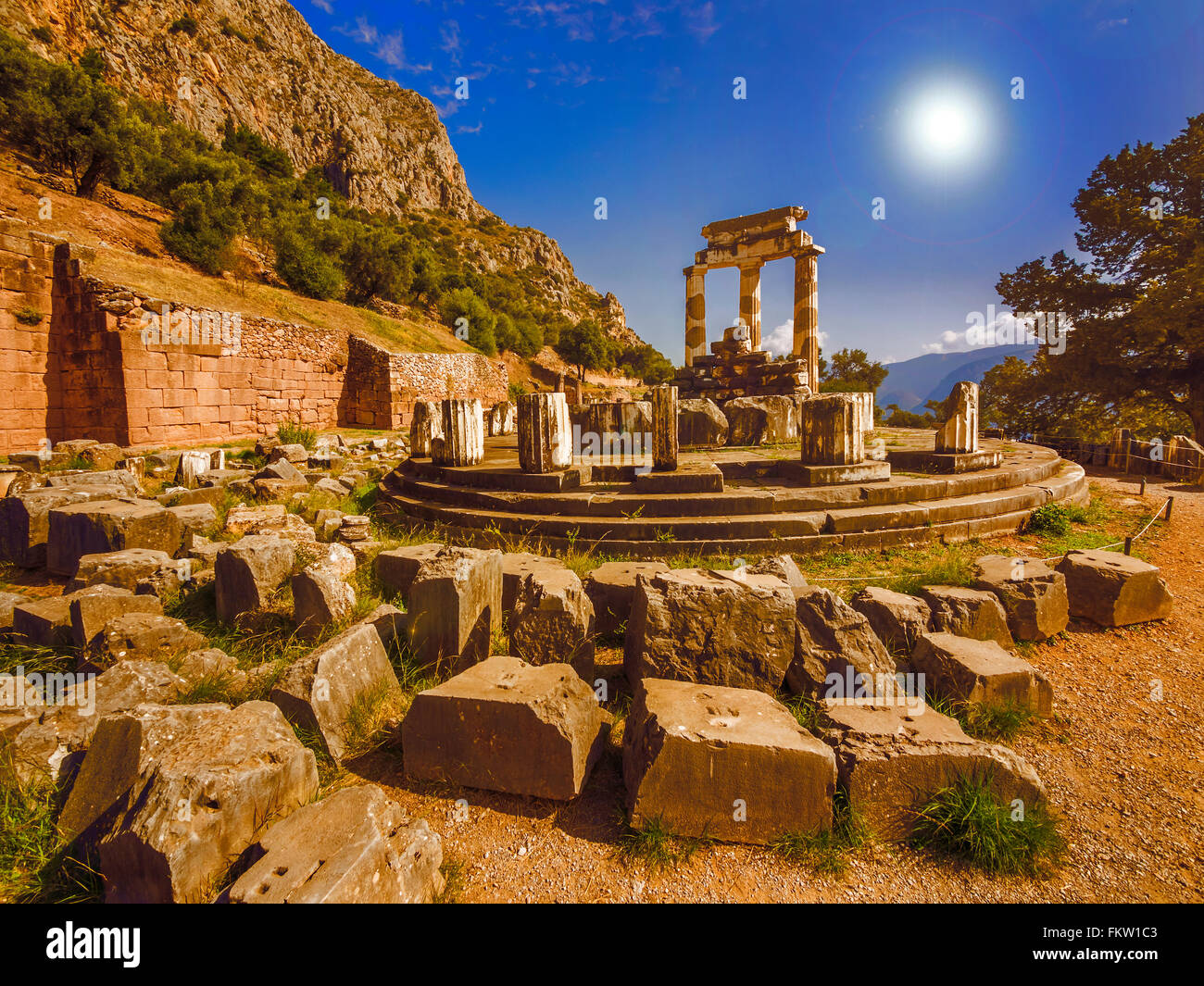 Tholos at the sanctuary of Athena Pronaia, Delphi, Greece. Stock Photo