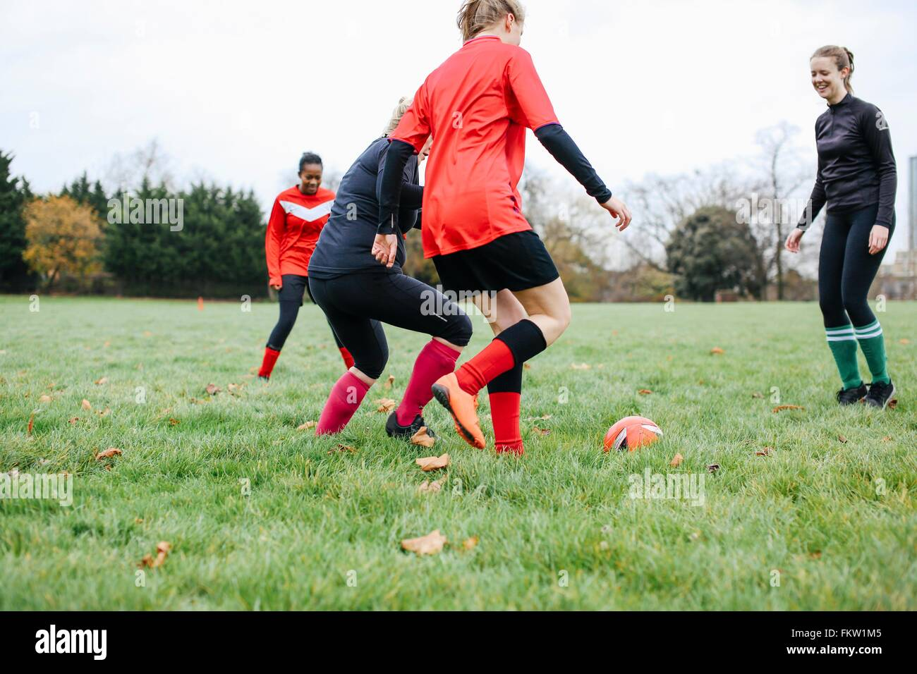 Female soccer players practicing in park - Stock Image