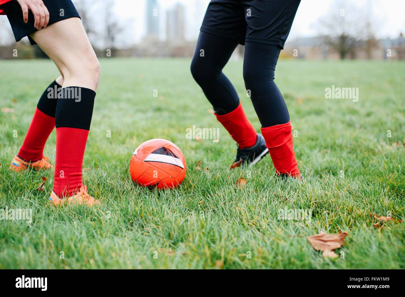 Legs of female soccer players practicing in park - Stock Image