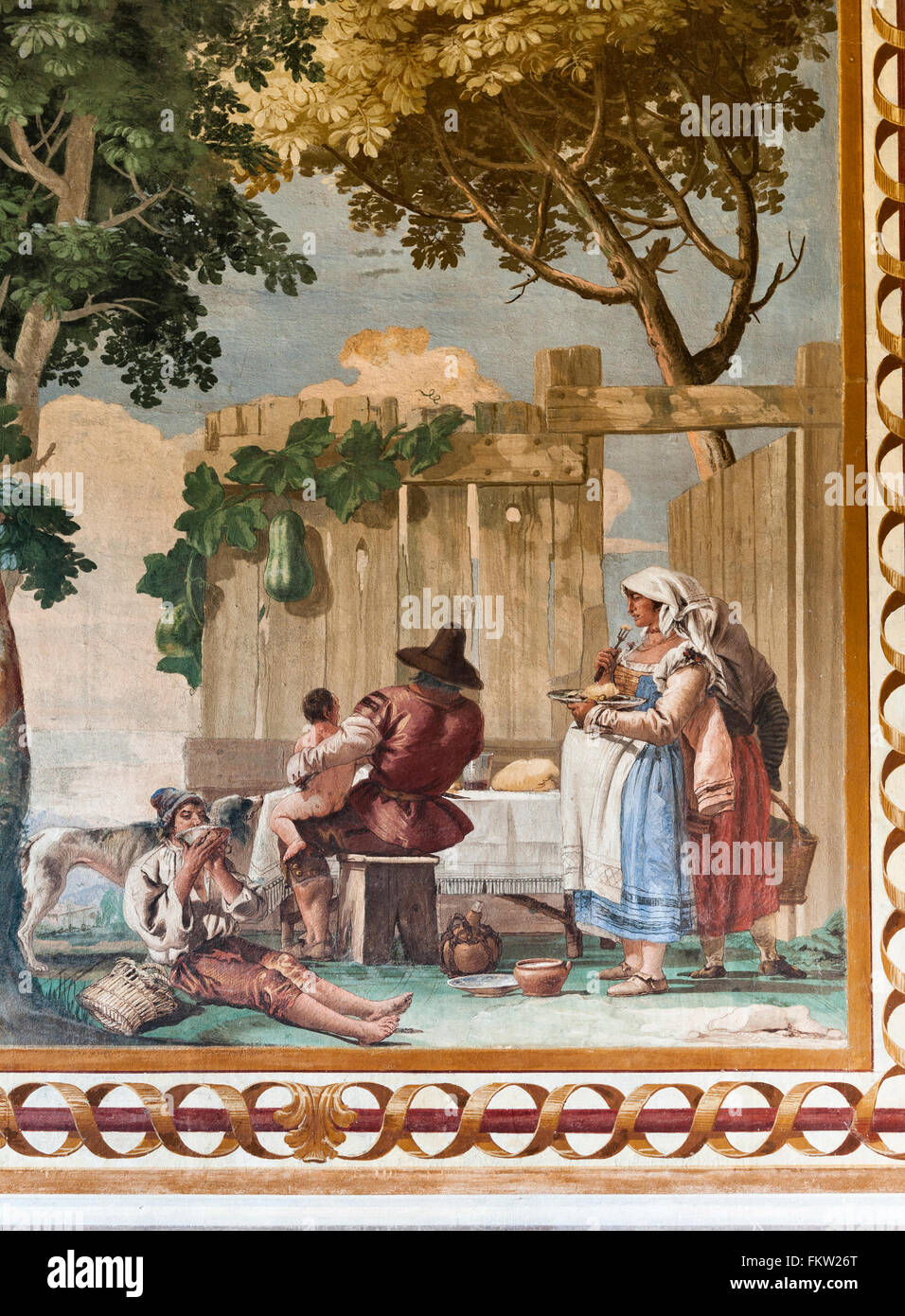 Villa Valmarana ai Nani, Italy. Fresco by Giandomenico Tiepolo in the Foresteria (guesthouse). Family Meal - Stock Image