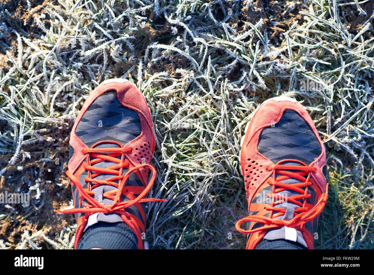Overhead view of runners feet wearing running shoes on frosty grass - Stock Image
