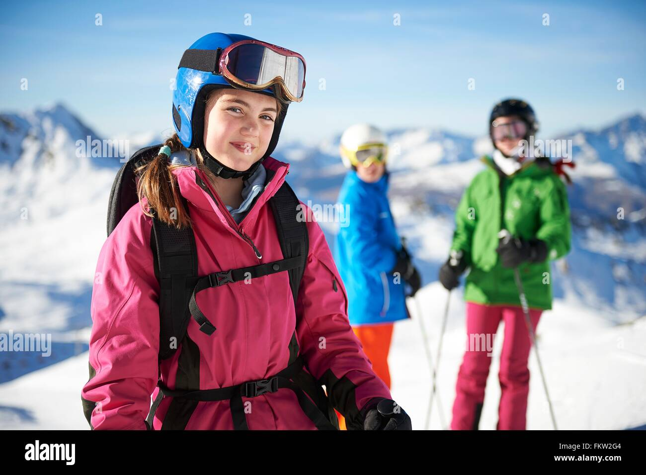 Young skiers on skiing trip, Les Arcs, Villaroger, Savoie, France - Stock Image