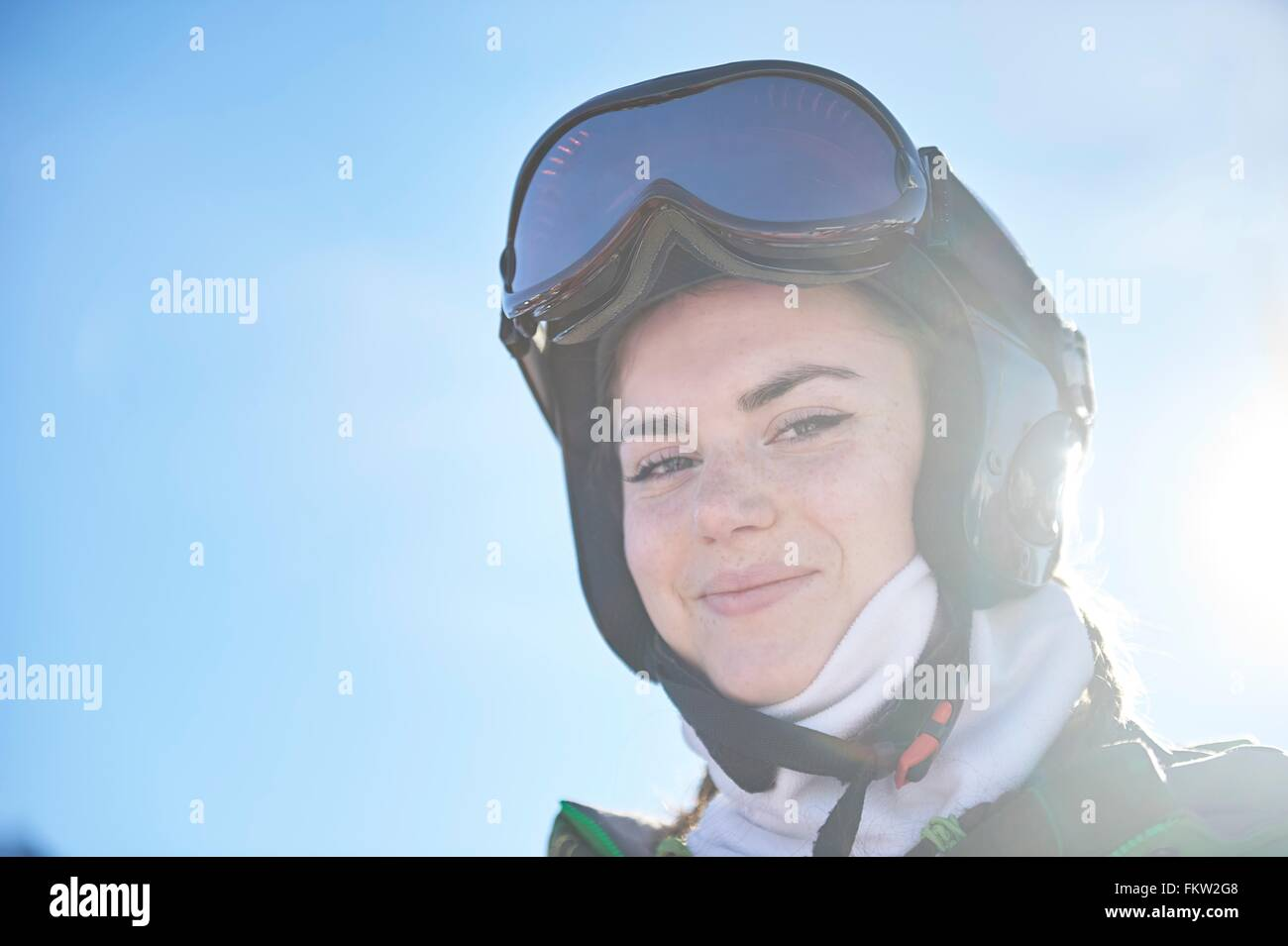 Girl on skiing holiday - Stock Image