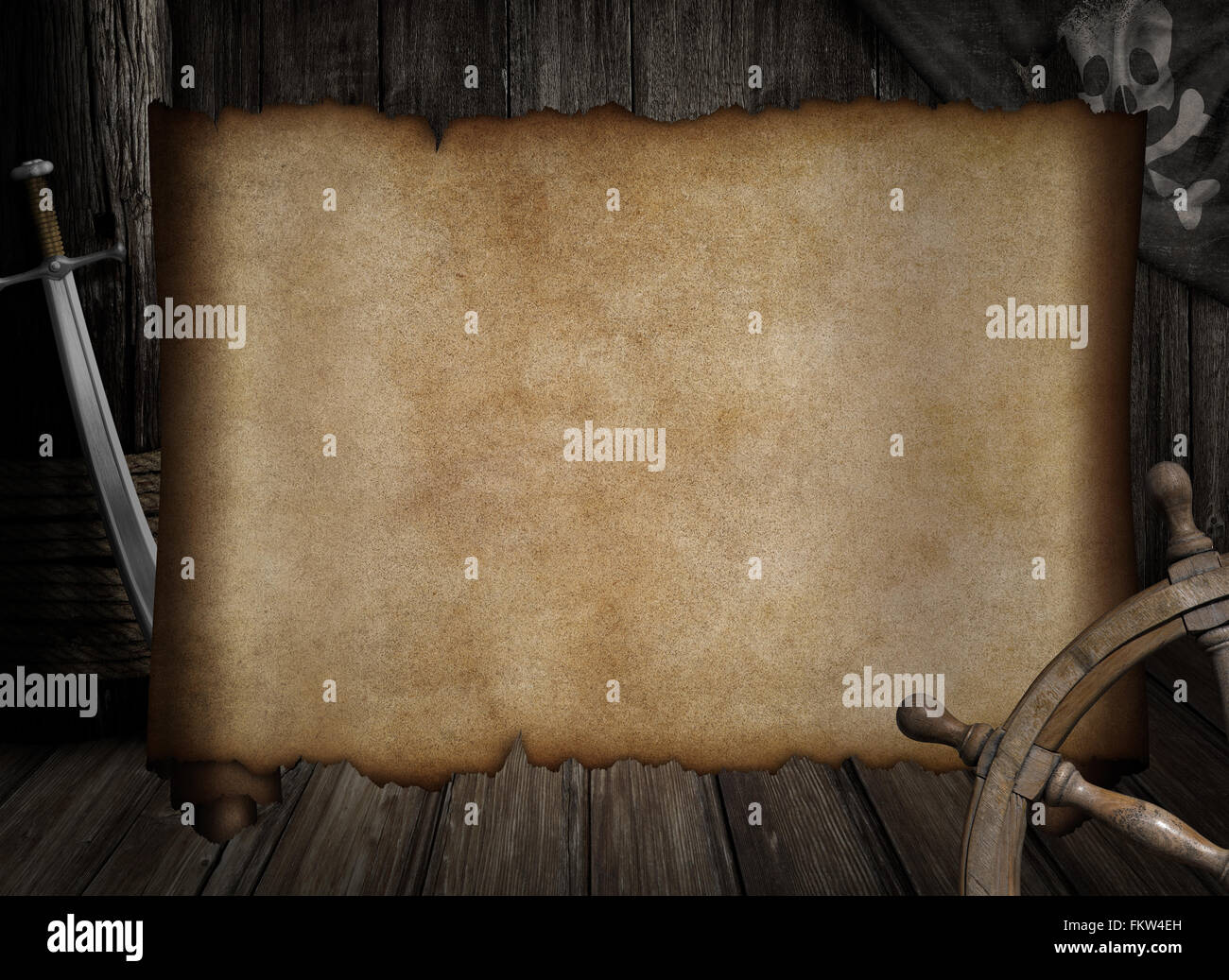 Blank Treasure Map Over Other Pirates Accessories