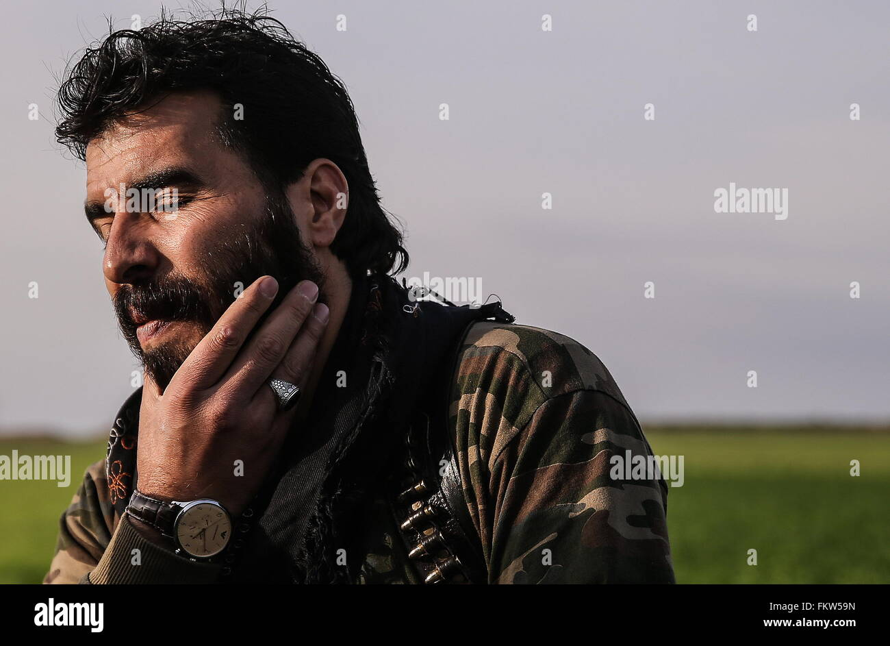SYRIA. MARCH 10, 2016. Abu Juma, leader of Jaysh al-Thuwar, near the town of Azaz. Jaysh al-Thuwar, or the Army Stock Photo