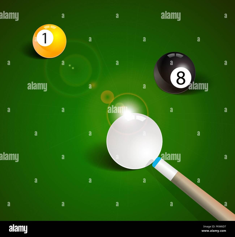 Billiard balls in a green pool table - Stock Vector