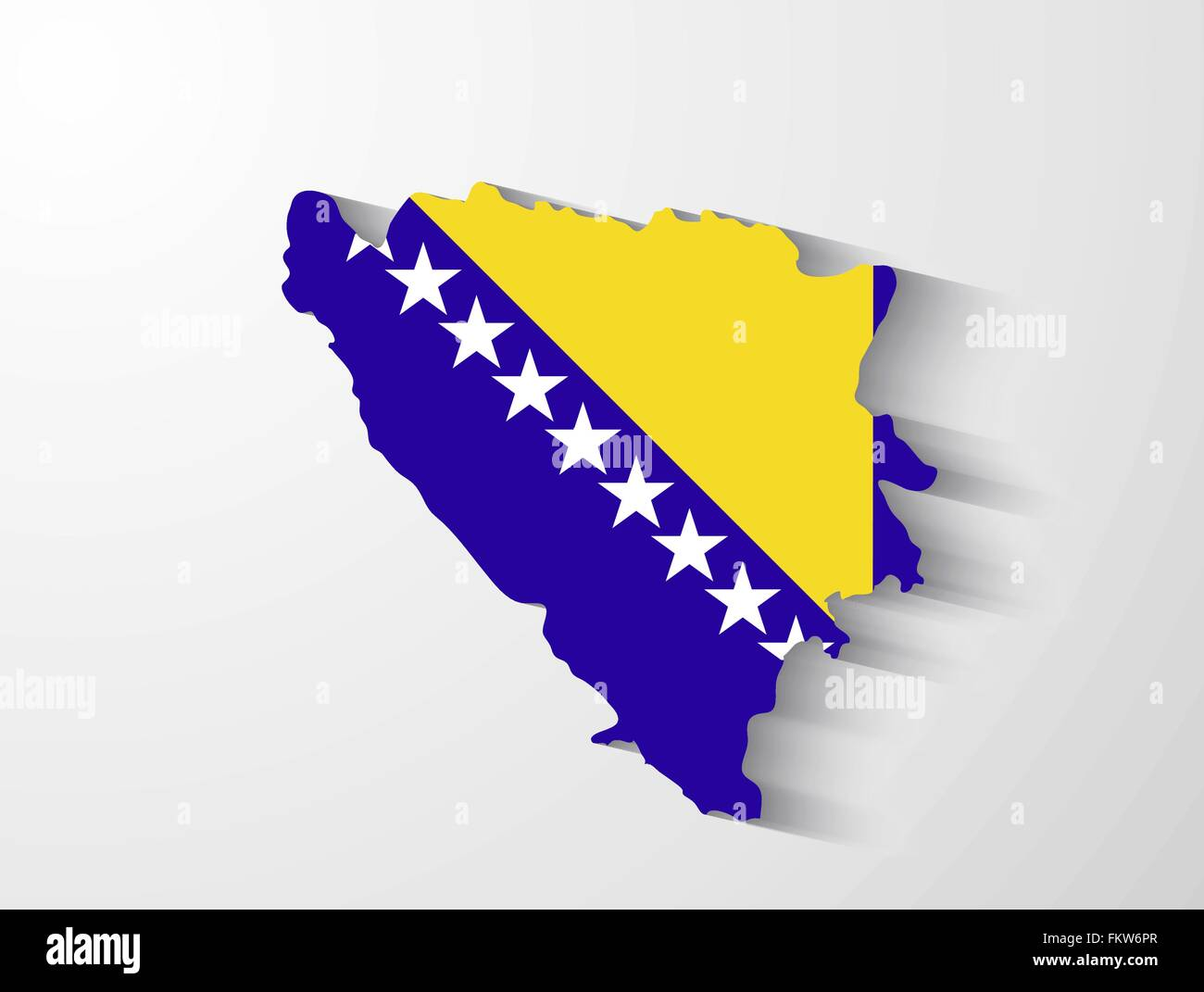 Bosnia and Herzegovina country map with flag and shadow effect - Stock Vector