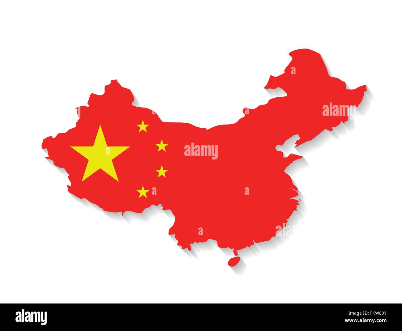 China country map with flag and shadow effect Stock Vector Art