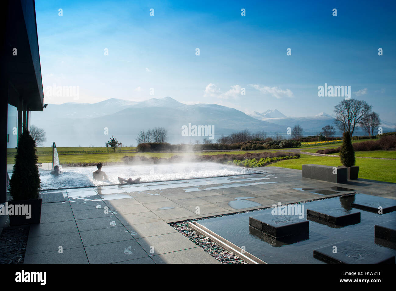 Outdoor vitality pool at the luxury five star Europe Hotel and Resort, Kerry Ireland - Stock Image