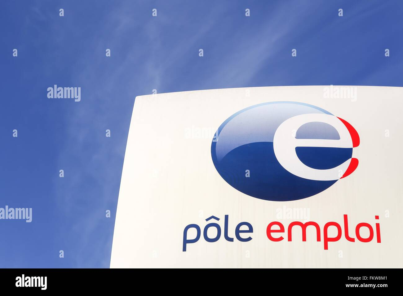 Pole emploi sign in France - Stock Image