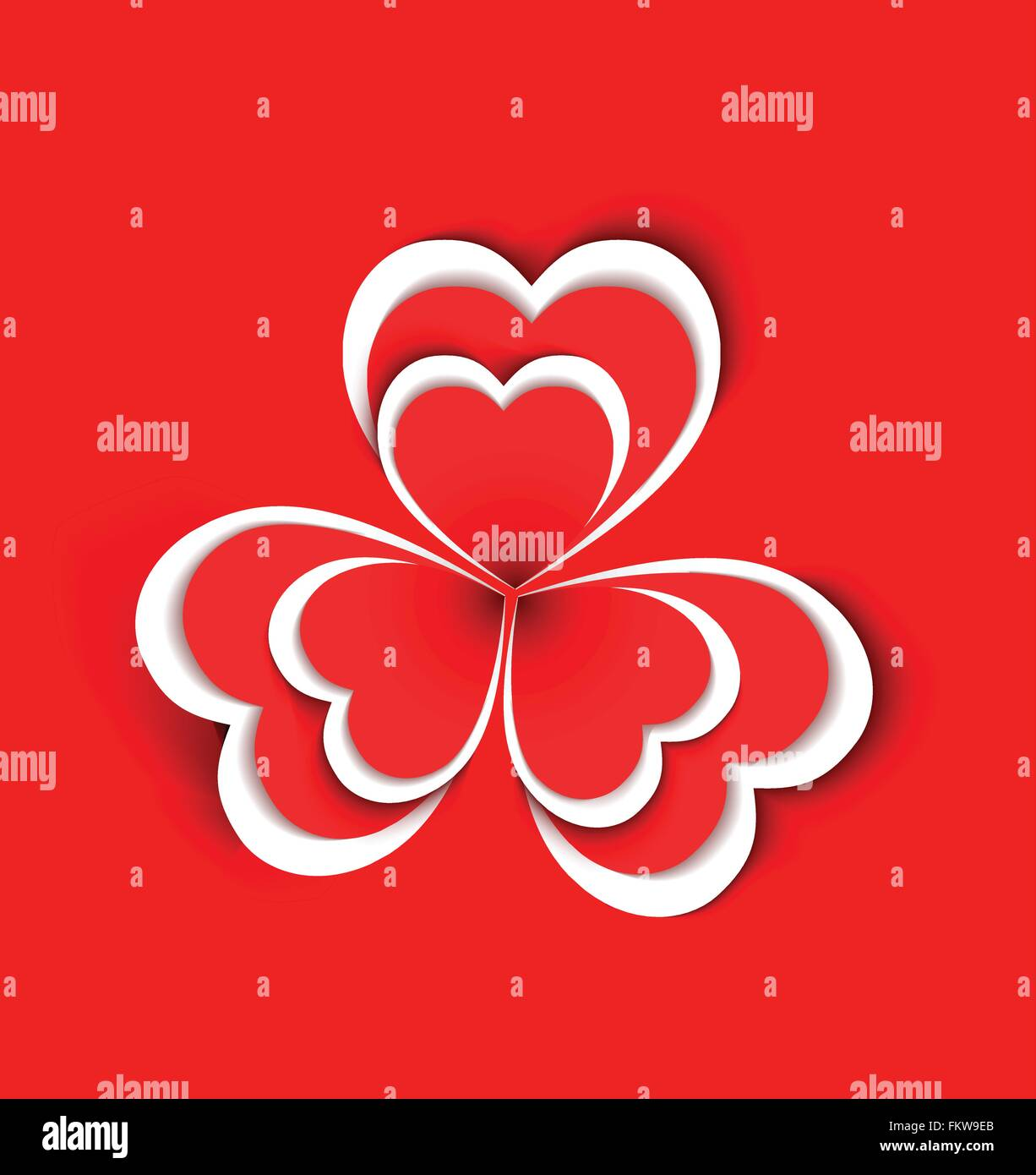 Conceptual flower shape made from paper hearts shape on red background - Stock Image